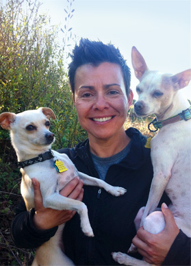 Dog Walker Michelle Sanchez, with her dogs